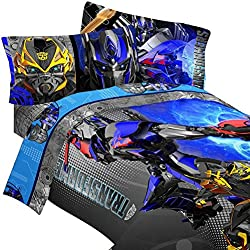 4pc Transformers Twin Bedding Set Optimus Prime Alien Machines Comforter and Sheet Set