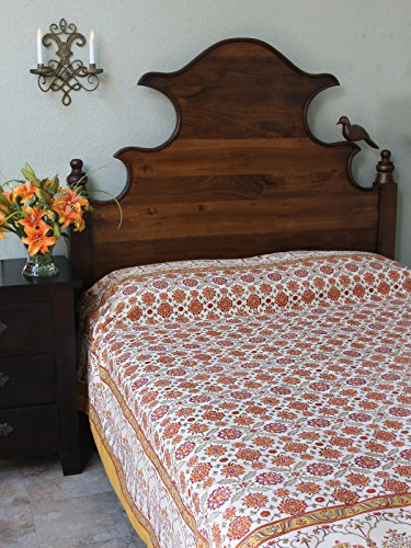 Orange Blossom ~ Persian Mediterranean Floral Queen Bedspread front-571214