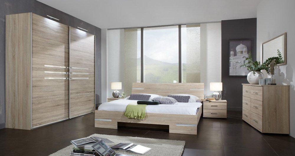 Schlafzimmer 4-tlg. Eiche sägerau-Dekor mit Chrom-Aufleistungen, Schrank B: 225 cm, Futonbett 180 x 200 cm, 2 Nachtschränke B: 52 cm