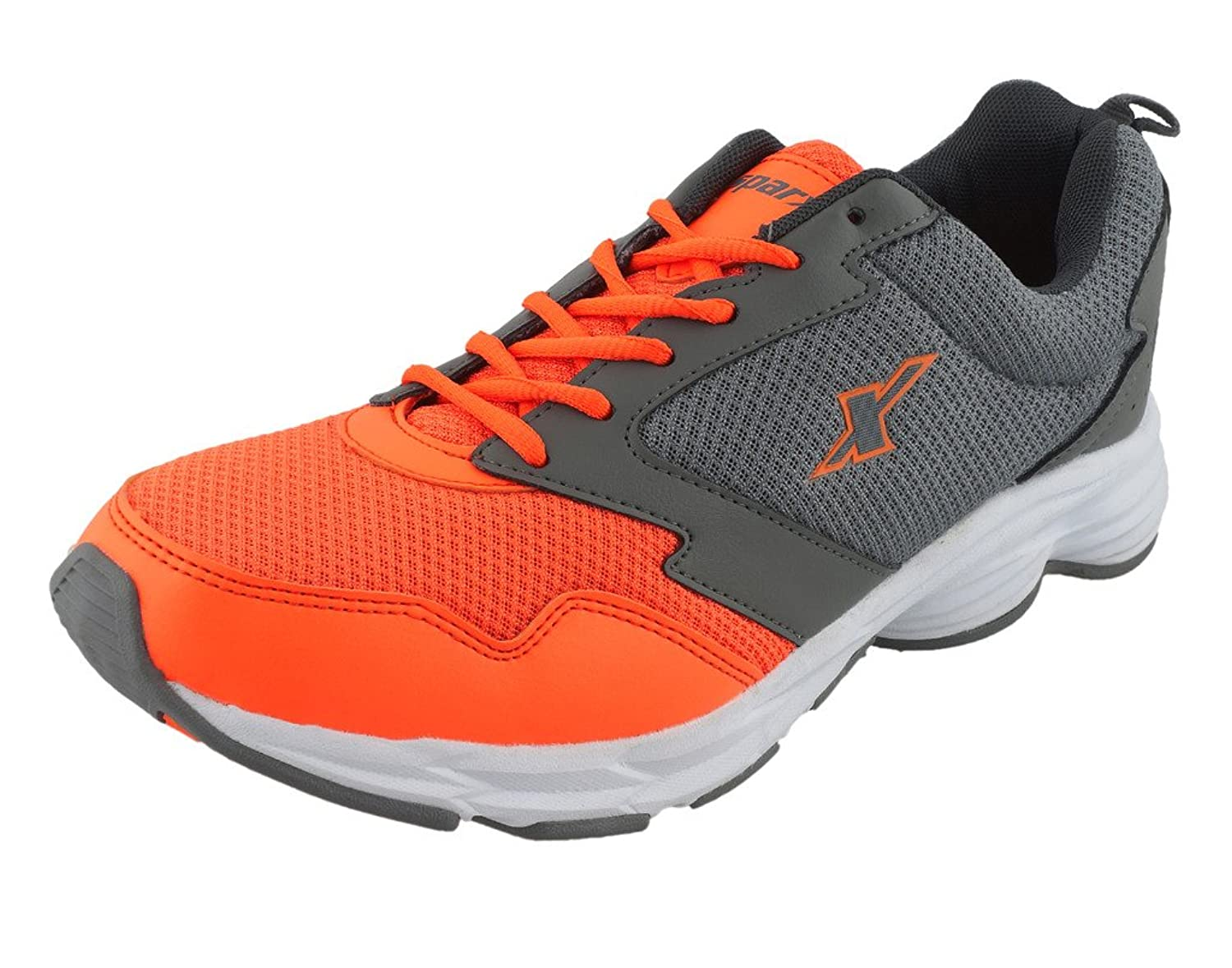Sparx Men Grey Orange Mesh Synthetic Running Shoe 7 UK India