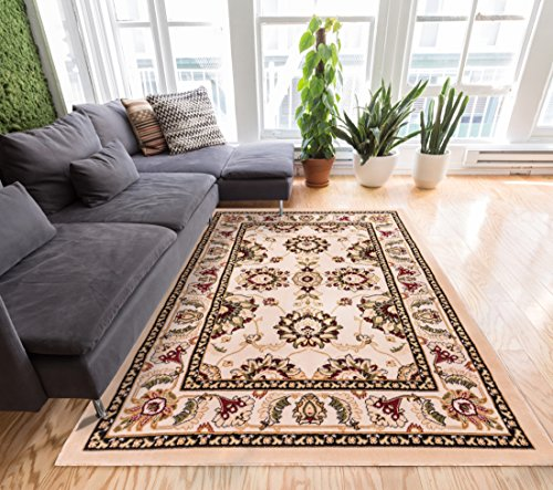 Herati Floral Ivory Traditional Oriental Sarouk Medallion Modern Floral 3x5 (3'3'' x 5') Area Rug Easy Care & Cleaning Shed Free Carpet