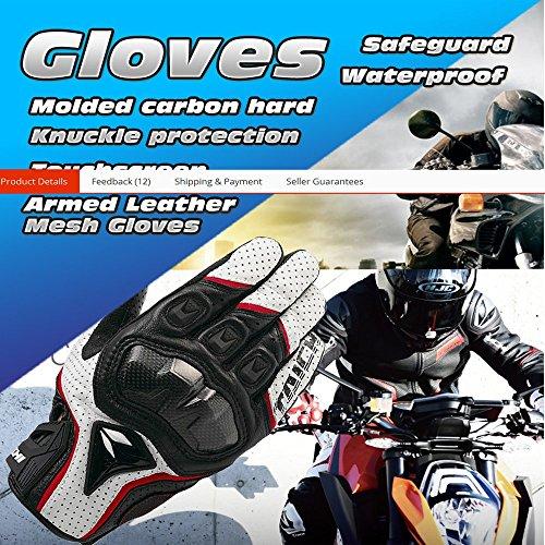 BACAI Waterproof Motorcycle Bike Racing Full Finger Gloves Leather Glove Carbon Men Taichi 390 Touch Screen Moto Motocicleta Guantes Luvas Size XL (Black Red)