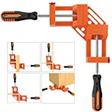 Right Angle Clamp, Housolution Single Handle 90° Aluminum Alloy Corner Clamp, Right Angle Clip Clamp Tool Woodworking Photo Frame Vise Holder with Adjustable Swing Jaw (Double Handle, 10-Orange) (Color: 10-orange, Tamaño: Double Handle)