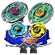 Beyblade Starter Combo Pack Hell Kerbecs + Flame Libra Metal 4D + Flame Byxsis + Blitz Unicorno Striker 4D + 2 x Rip Cords + Blue Battle Arena Stadium // SHIPPED AND SOLD FROM US