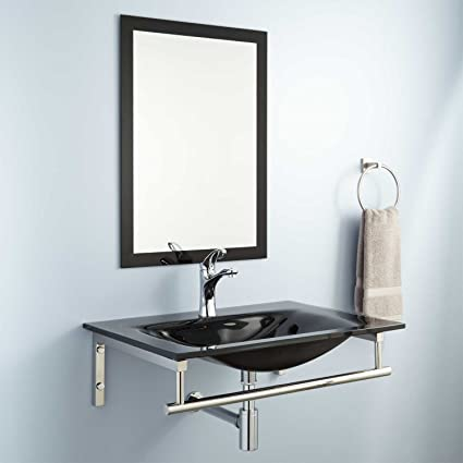 """Naiture Glass Rectangular Wall-Mount Sink With Mirror And Polished Nickel Finish Pop-up Bathroom Drain -1-1/2"""""""