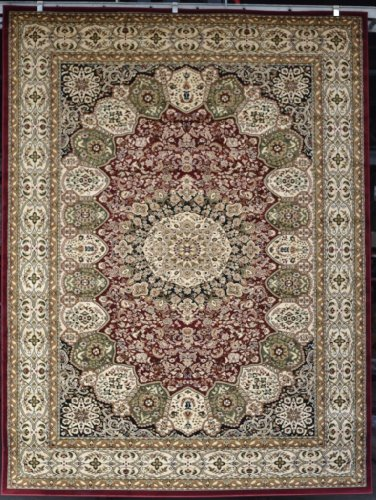 2002 Burgundy Green Beige 10X13 (9'0X12'6) Black Isfahan Area Rug Oriental Carpet Large New front-563284