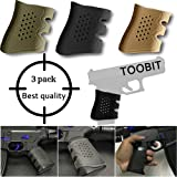 Glock 19 Accessories AR Grip Sleeve -3 Pcs Tactical Rubber Grip Glove Sleeve for Glock 17 19 20 21 22 23 25 31 32 34 35 37 38 41 (Color: 3 colors)