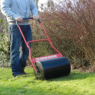 FOX 40 Litre Steel Garden Lawn Roller Heavy Duty 100% Steel 500mm Working Width with Comfort Soft Grip - Fill With Water / Sand / Cement