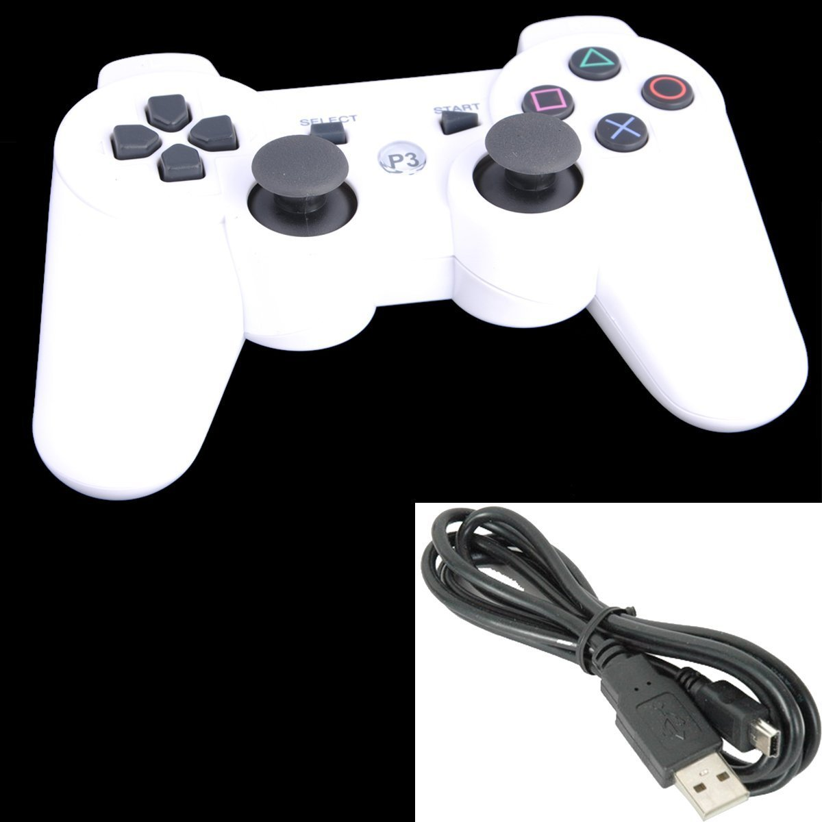 Elant Bluetooth Wireless Controller For Sony Playstation 3 Ps3 6 Axis Gamepad Joypad Dualshock with Charging Cable 11 Colors Available (white) oem playstation 3 ps3 2 4 wirless ps2 wireless controller