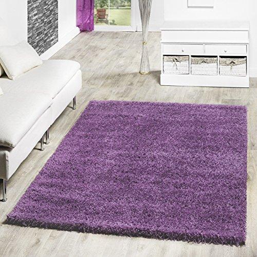 Shaggy-Teppich-Hochflor-Langflor-Teppiche-Wohnzimmer-Preishammer-versch-Farben-FarbelilaGre70x140-cm