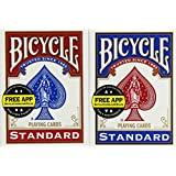 Bicycle Poker Size Standard Index Playing Cards (Blue or Red) (Pack of 4)