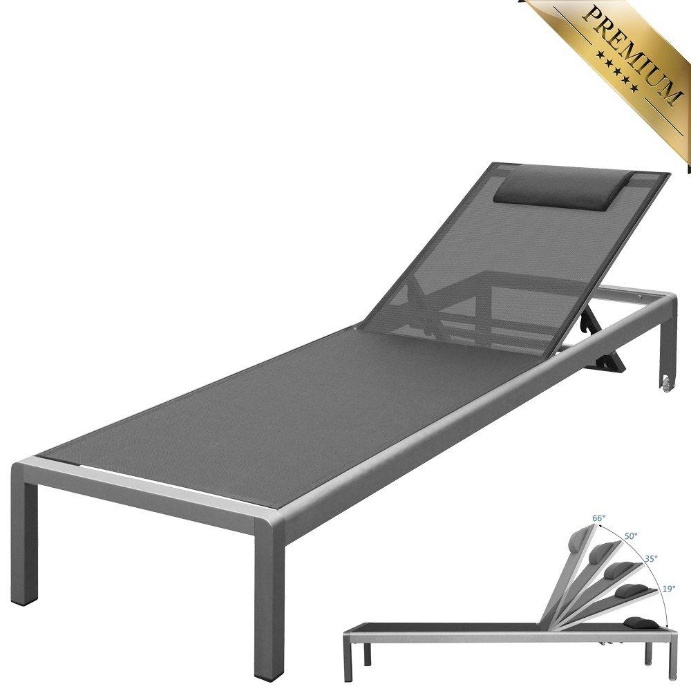 """PREMIUM XXL Aluminium-Liege """"Monaco"""" ca. 160 kg belastbar, mit Räder und Nackenrolle, bestens für den gewerblichen Einsatz geeignet, 5-fach verstellbare Rückenlehne (ganz flach), rollbar, Bezug Grau jetzt bestellen"""
