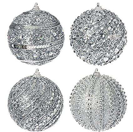 Silver Glittered Set of 4 Ball Ornaments by Raz Imports