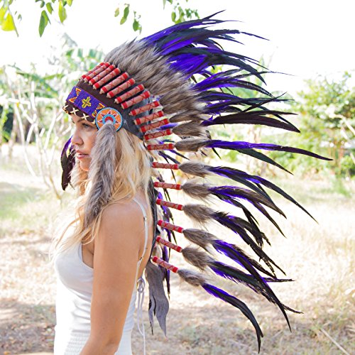 Novum Crafts Feather Headdress | Native American Indian Inspired | Purple (Feathered Headdress)