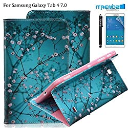 Galaxy Tab 4 7 Inch Case, Itrendz [Cute Smart Case] Cherry Blossom PU Leather Flip Case [Card Slot Case] [Magnetic] Stand Smart Cover For Samsung Galaxy Tab 4 7.0