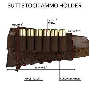 BronzeDog Adjustable Leather Buttstock Cartridge Ammo Holder for Rifles 12 16 Gauge or .30-30 .308 Caliber Hunting Ammo Pouch Bag Stock Right Handed Shotgun Shell Holder (Brown, 7.62 Caliber) (Color: Brown, Tamaño: 7.62 caliber)