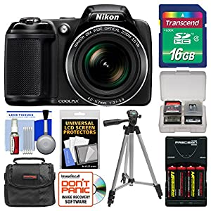 Nikon Coolpix L340 Digital Camera with 16GB Card + Case + Batteries & Charger + Tripod Kit (Certified Refurbished)
