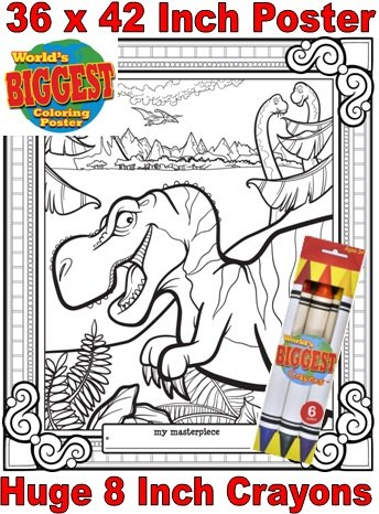 Just For Laughs World's Biggest Coloring Posters Combo- Dinosaurs - 1