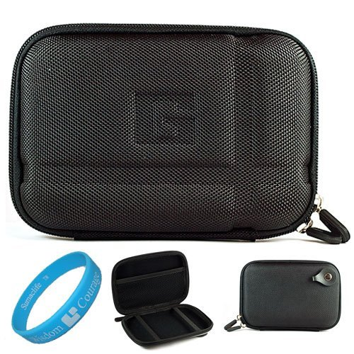 Nylon Black Durable 5.2-inch Protective GPS Carrying Case with Removable Carbineer for Garmin Nuvi 1450LMT/ 1490LMT / 2460LMT 5 inch Portable GPS Navigation System + SumacLife TM Wisdom Courage Wristband