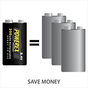 Powerex Precharged 8.4V Rechargeable Low Self Discharge NiMH Battery (MHR84VP) (Tamaño: 1-pack)