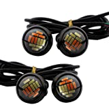 Ronben 4X 23mm LED High Power Dual Color White /Amber 4014 12 SMD Eagle Eye Led Light DRL