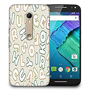 Snoogg White Alphabets Printed Protective Phone Back Case Cover For Motorola X Style