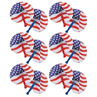 American Flag Stars and Stripes Paper Fans, Set of 12