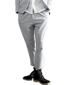 Galvanize メンズ T/R ストレッチ ポンチ アンクル丈 タック スラックスパンツ