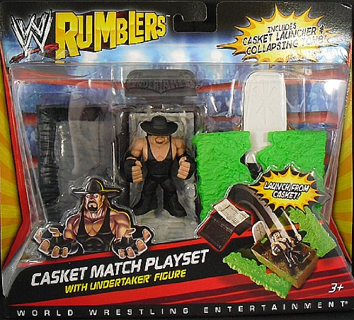 Picture of Mattel UNDERTAKER W/ CASKET MATCH ACCESSORIES - WWE RUMBLERS WWE TOY WRESTLING ACTION FIGURE (B004Y6MQ4E) (Wrestling Action Figures)