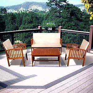 Carolina 4 Piece Outdoor Eucalyptus Lounge Seating Group With Cushions Outdoor