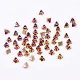 45pcs Nail Crystal Rhinestones Square Spikes Decorations 3d Glass Nail Art Crystals Stones Supplies (Color: Volcano)