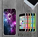 Cracked Screen Prank Custom made Case/Cover/skin FOR iPhone 5C - White - Rubber Case ( Ship From CA)
