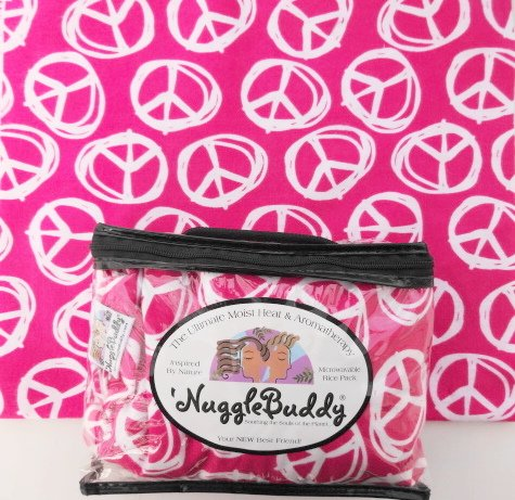 'NUGGLEBUDDY Microwaveable Moist Heat & Aromatherapy Organic Rice Pack. Teen Favorite! Pink Peace Signs. YUMMY PEPPERMINT SCENT. The Perfect Gift! (Teen Aroma compare prices)