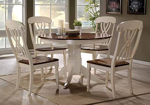 1PerfectChoice Dylan Country Style 5 pc Dining Set Round Pedestal Table Chair in Buttermilk Oak