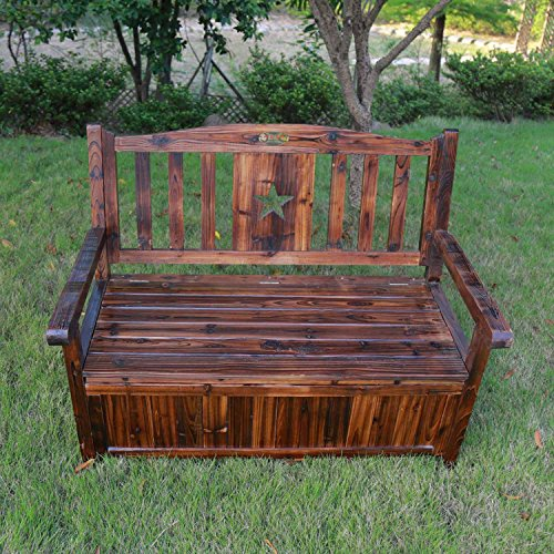 Songsen Wooden Storage Bench With Arm And Back Garden Storage Bench Chest Indoor Shoe Cabinet Chair