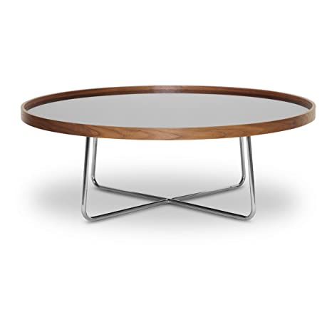 Baxton Studio Lomax Round Walnut Modern Coffee Table with Black Glass Top
