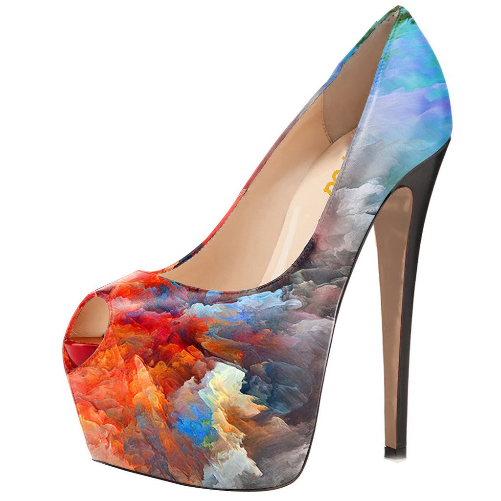 Buy Multicolored Peep Toe Platform Pumps Now!
