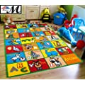"Mybecca Kids Rug alphabet Animals Area Rug 5 x 7 Children Area Rug for Playroom & Nursery - Non Skid Gel Backing (59"" x 82"")"