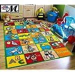 "Mybecca Kids Rug alphabet Animals Area Rug 5 x 7 Children Area Rug for Playroom & Nursery - Non Skid Gel Backing (59"" x 82"")"