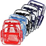Bulk K-Cliffs Clear Transparent PVC School Backpack/ Book Bag with Color Trim ~ K Cliffs