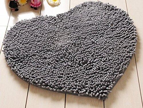 Red Heart Love microfiber chenille Soft Fluffy Rug Bathroom Bedroom Carpet Mat (gray) (beige) (coffee)