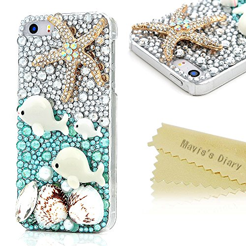 Iphone SE Case,Iphone 5S/5 Case - Mavis's Diary 3D Handmade Bling Crystal Shiny Glitter Diamond Rhinestone Cute Dolphin Colorful Shell Golden Starfish with Beautiful Pearls Clear Hard Cover (Dolphin) (Iphone 5 Case Gem compare prices)