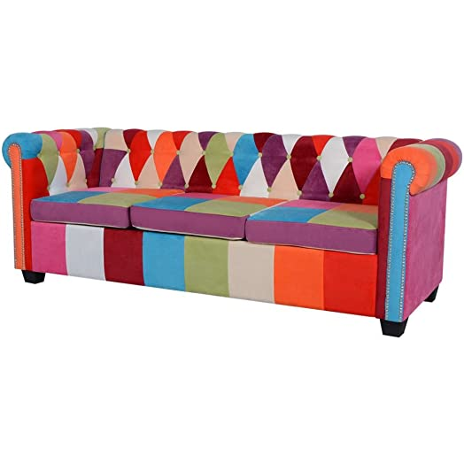 VidaXL Chesterfield–Divano 2/3posti in tessuto divano per soggiorno divano mobile di soggiorno, 200,5 x 76,5 x 65 cm (L x l x H)