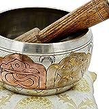 Tibetische-Klangschale-Meditation-Kupfer-Und-Silber-Buddhistischen-Dekor-10-Cm