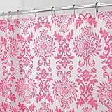 InterDesign Damask Shower Curtain, 72 x 72, Hot Pink