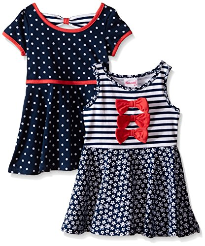Nannette Little Girls Two Pack Twin Printed Knit Dress, Navy/White, 5