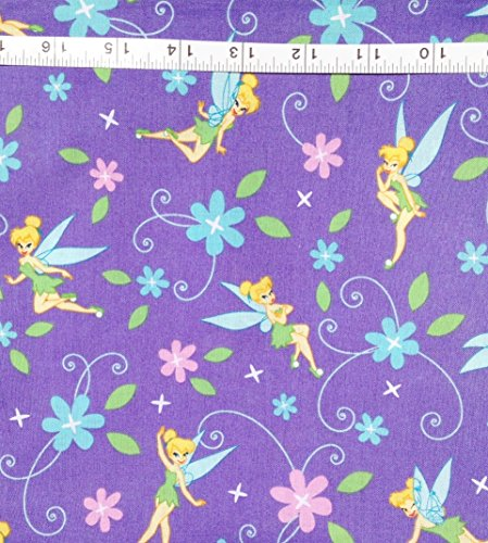 """Disney """"Tink Flowers"""" Tinkerbell on Lavender 100% Cotton Fabric (Great for Quilting, Sewing, Craft Projects, Quilts, Throw Pillows & More) 1/2 Yard X 44"""" Wide"""
