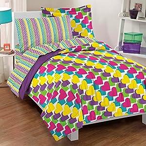 Dream Factory Casual Rainbow Hearts Comforter Set, Twin, Multicolor