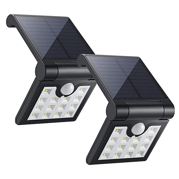 ECEEN Solar Light Outdoor Motion Sensor Foldable Garden 14LEDs IP65 Waterproof Security Wireless Portable Light for Wall Driveway Balcony Camping Yard Garage Porch Patio Path Fence RV, 2 Pack (Black) (Color: Black)
