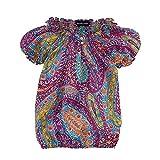 Ralph Lauren Polo Girls Paisley Floral Smocked Top Shirt